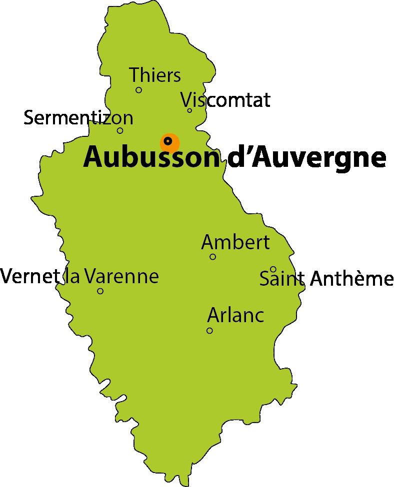 carte Aubusson d'Auvergne, le lac